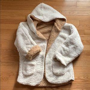 Thick Faux Sherpa Hooded Sweatshirt